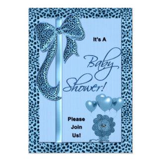 Baby Shower Invitation Blue Cheetah Print