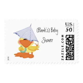Baby Shower Invitation-Blue Duck/Quackup Postage