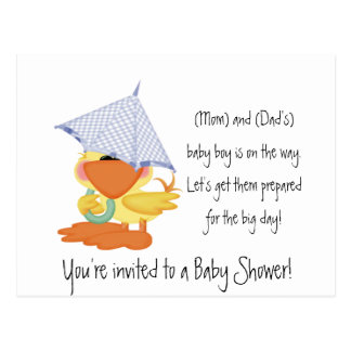 Baby Shower Invitation-Blue Duck/Quackup Postcard