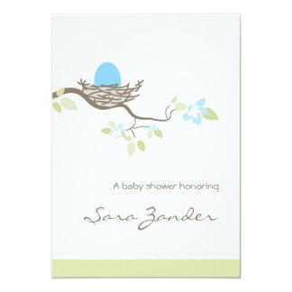 Baby Shower Invitation - Blue Egg in Nest