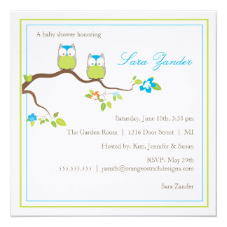Baby Shower Invitation - Blue Twin Baby Owls