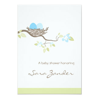 Baby Shower Invitation - Blue Twin Eggs in Nest