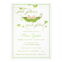 Baby Shower Invitation - Boy and Girl Pea in a Pod