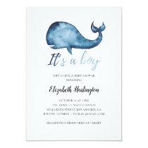 Baby shower invitation. Boy. Blue whale invite