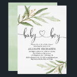 "Baby shower invitation boy simple modern greenery<br><div class=""desc"">For more advanced customization of this design,  simply select the ""Customize It"" button above!</div>"