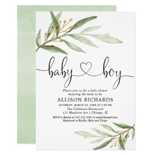 Baby shower invitation boy simple modern greenery