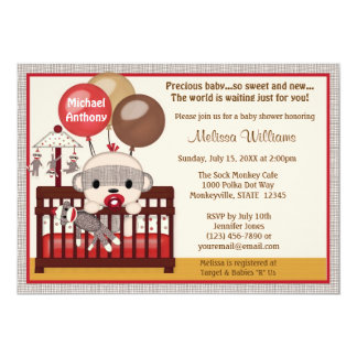 Baby Shower invitation BOY Sock MONKEY Crib SMC-B