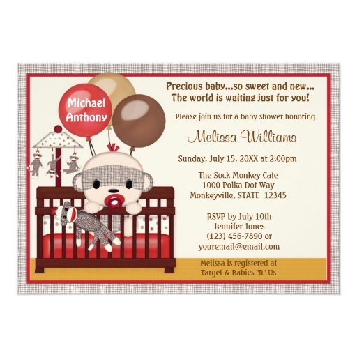 Baby Shower invitation BOY Sock MONKEY Crib SMC-B