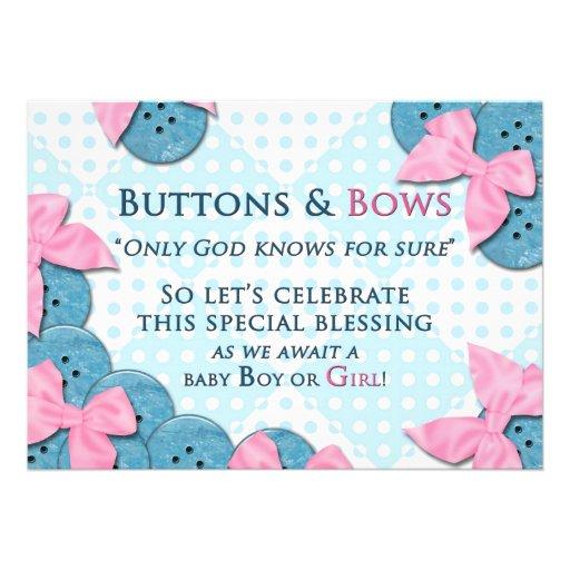 baby shower invitation buttons bows invitation zazzle