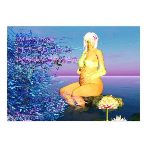 Baby Shower Invitation Card With Fantasy Elf