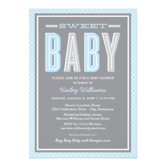 Baby Shower Invitation Chic Type - Blue Gray Card