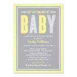 Baby Shower Invitation   Chic Type - Yellow Gray Custom Announcement