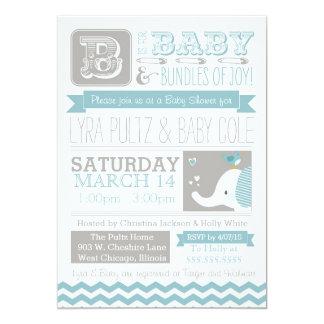 Baby Shower Invitation - Circus Elephant & Chevron