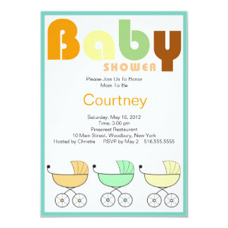Baby Shower Invitation Colorful Carriages