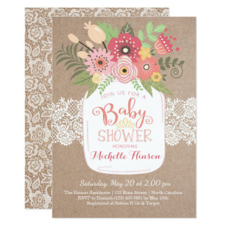 Baby Shower Invitation, Country Kraft and Lace Card