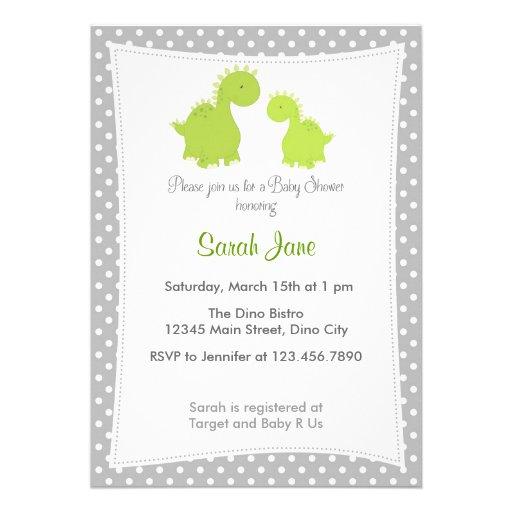 Baby Shower Invitation Cute Dinosaur Grey Green