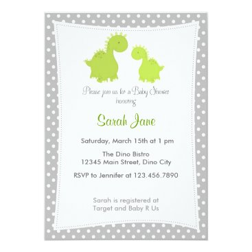 Toddler & Baby themed Baby Shower Invitation Cute Dinosaur Grey Green