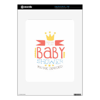 Baby Shower Invitation Design Template With Crown iPad Skins