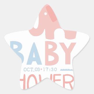 Baby Shower Invitation Design Template With Toy El Star Sticker