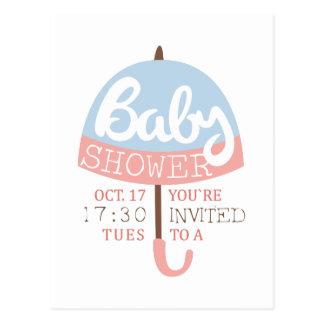 Baby Shower Invitation Design Template With Umbrel Postcard