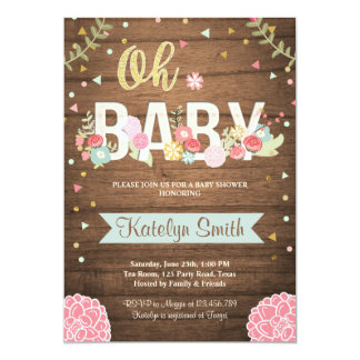 Baby Shower invitation Floral Rustic Wood Garden