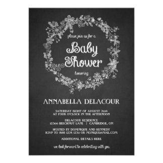 Baby Shower Invitation - Floral Wreath Chalkboard
