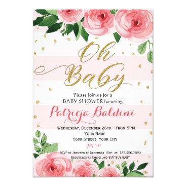 oh baby blush pink gold glitter baby shower card - custom products, Baby shower invitations