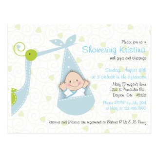 Baby Shower Invitation for Baby Boy with Stork Postcard