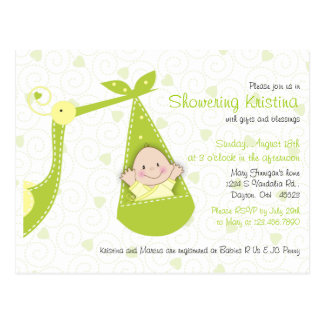 Baby Shower Invitation for Baby Gender UnknowStork Postcard