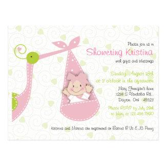 Baby Shower Invitation for Baby Girl Pink Stork Postcard