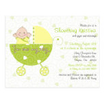 Baby Shower Invitation for Gender Unknown Carriage Postcards
