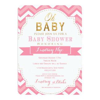 Baby Shower Invitation for Girl Chevron Pink Gold
