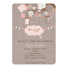 Baby Shower Invitation for Girl With Mason Jar at Zazzle