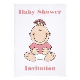 Baby Shower Invitation for girl with smiling baby