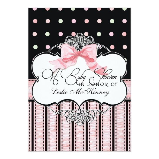 Baby Shower Invitation - French Bow Dot Swirl vs3