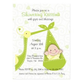Baby Shower Invitation Gender Unknown with Stork Postcard