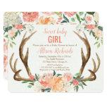 Baby shower invitation girl Antler boho rustic