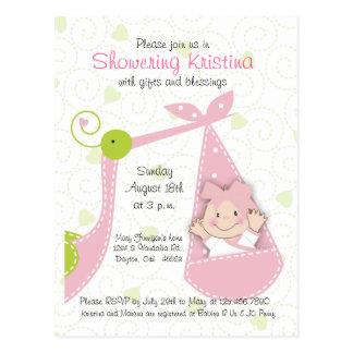 Baby Shower Invitation Girl with Stork Postcard