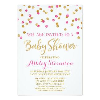 Baby Shower Invitation Gold Pink Fuchsia Confetti