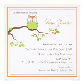 Baby Shower Invitation - Green and Orange Baby Owl