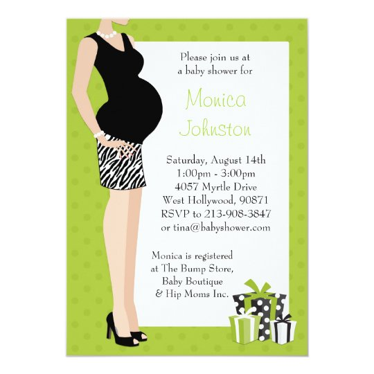 Baby Shower Invitation Green with Zebra Pattern