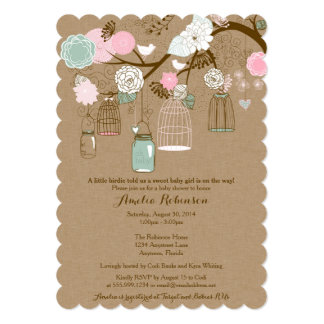 """Baby Shower Invitation - Hanging Cages & Jars 5"""" X 7"""" Invitation Card"""