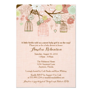 Baby Shower Invitation - Hanging Cages & Jars Pink