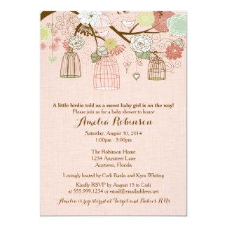 Baby Shower Invitation - Hanging Cages & Jars Pink