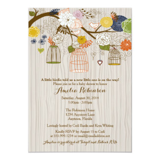 Baby Shower Invitation - Hanging Cages & Jars Wood