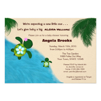 Baby Shower Invitation (Honu) Adorable Turtle BLUE