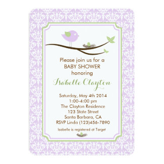 Baby Shower Invitation in Lavender and Green