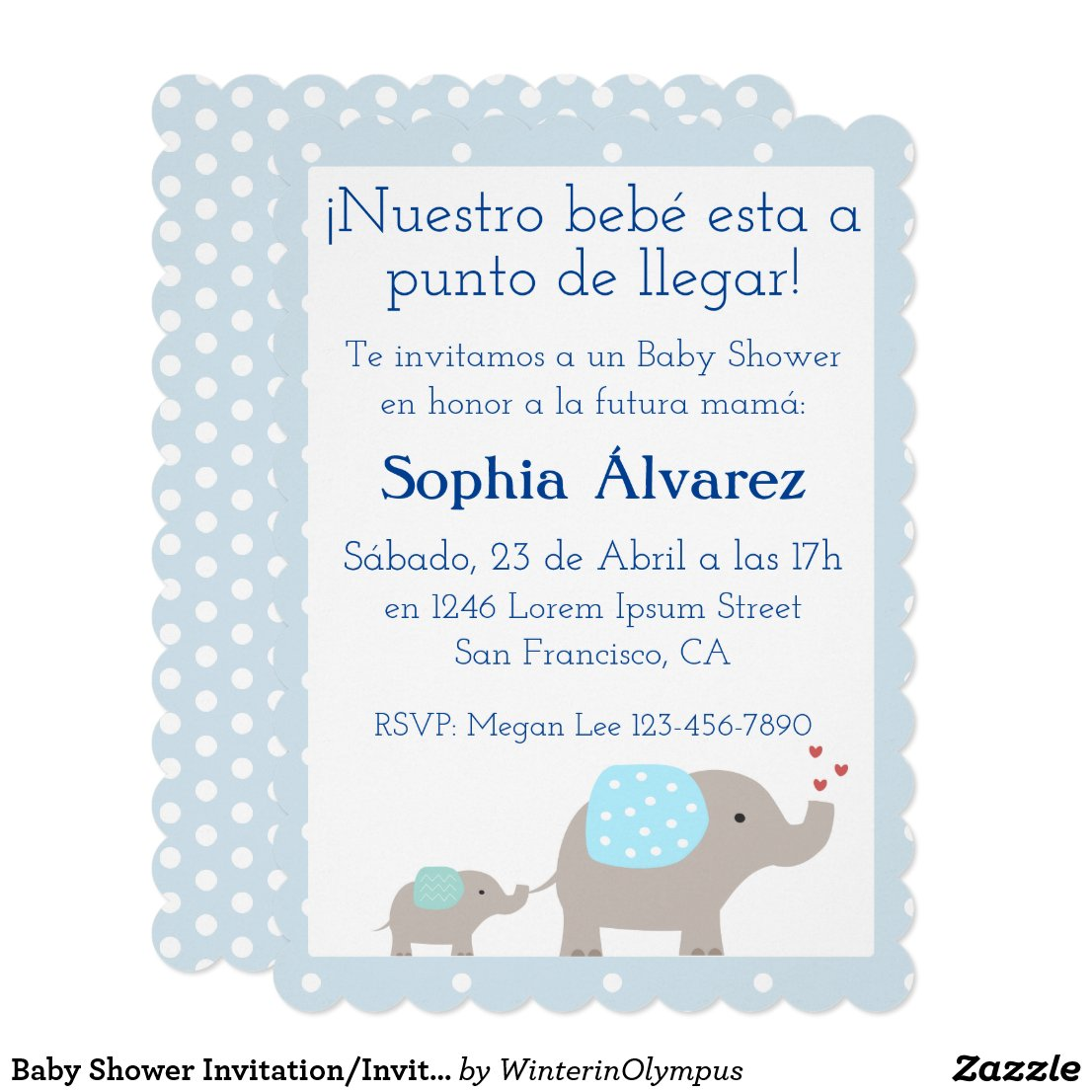 Baby Shower Invitation/Invitación para Baby Shower Card