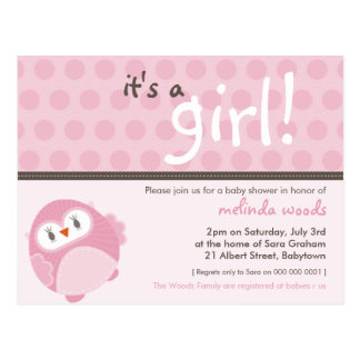 BABY SHOWER INVITATION :: it's a girl owl 4 Postcard
