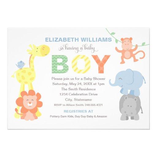 baby shower invitation jungle animals for boy 5 x 7 invitation